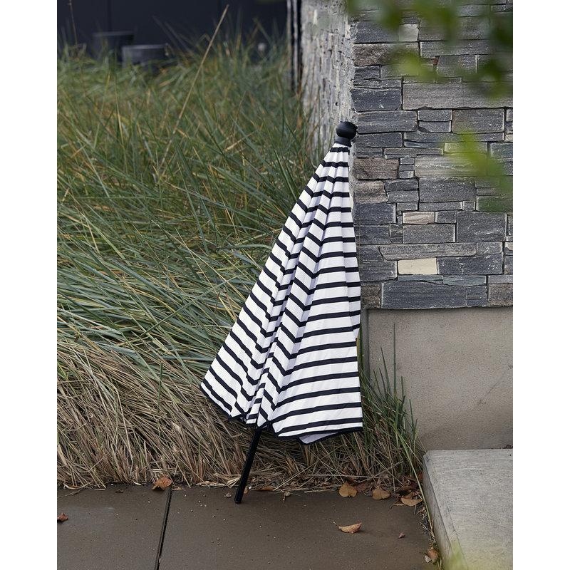 House Doctor-collectie Parasol Oktogon zwart wit gestreept 180 cm