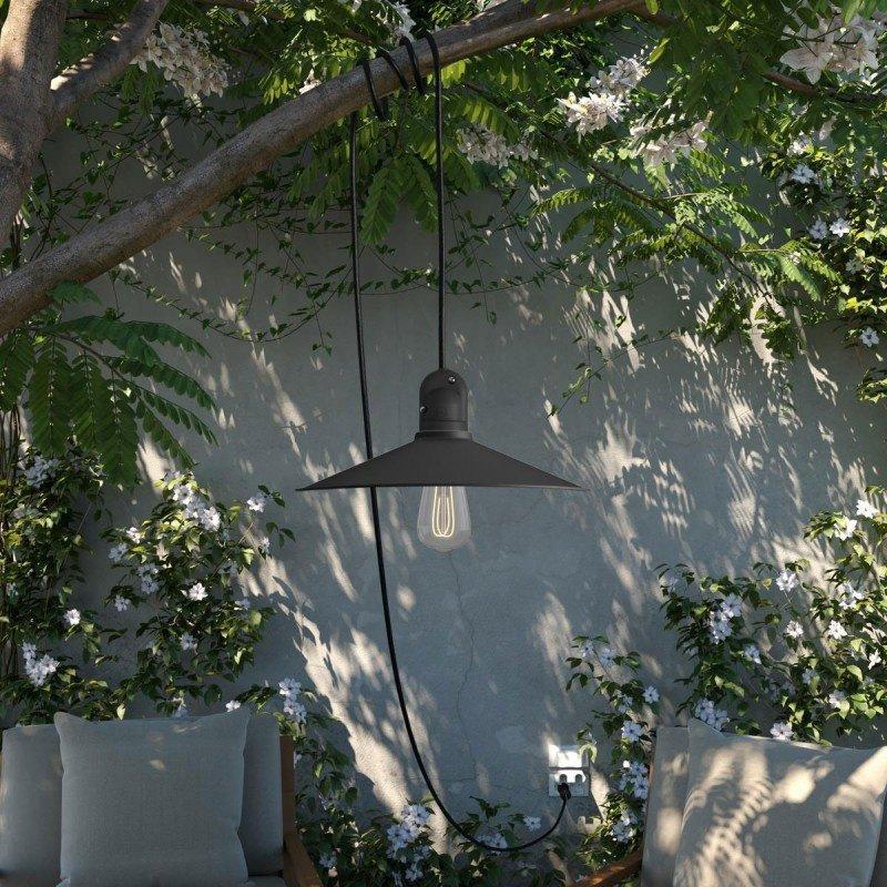 STUDIO DEENS-collectie Outdoor hanglamp zwart met 5m zwart snoer & stekker