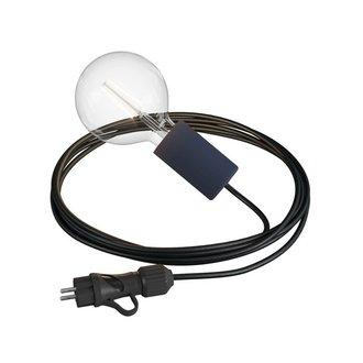STUDIO DEENS Outdoor lichtsnoer 5m met fitting & stekker zwart
