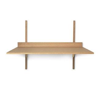 ferm LIVING Houten wandrek Sector Desk - eiken - Brass