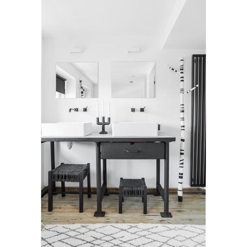 HKliving-collectie Badmat zwart wit geruit 90x175 cm