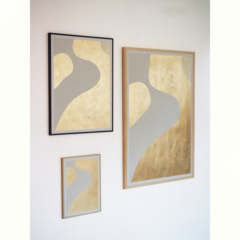 WHY-collectie Feeling golden II with wooden frame 70x100 cm