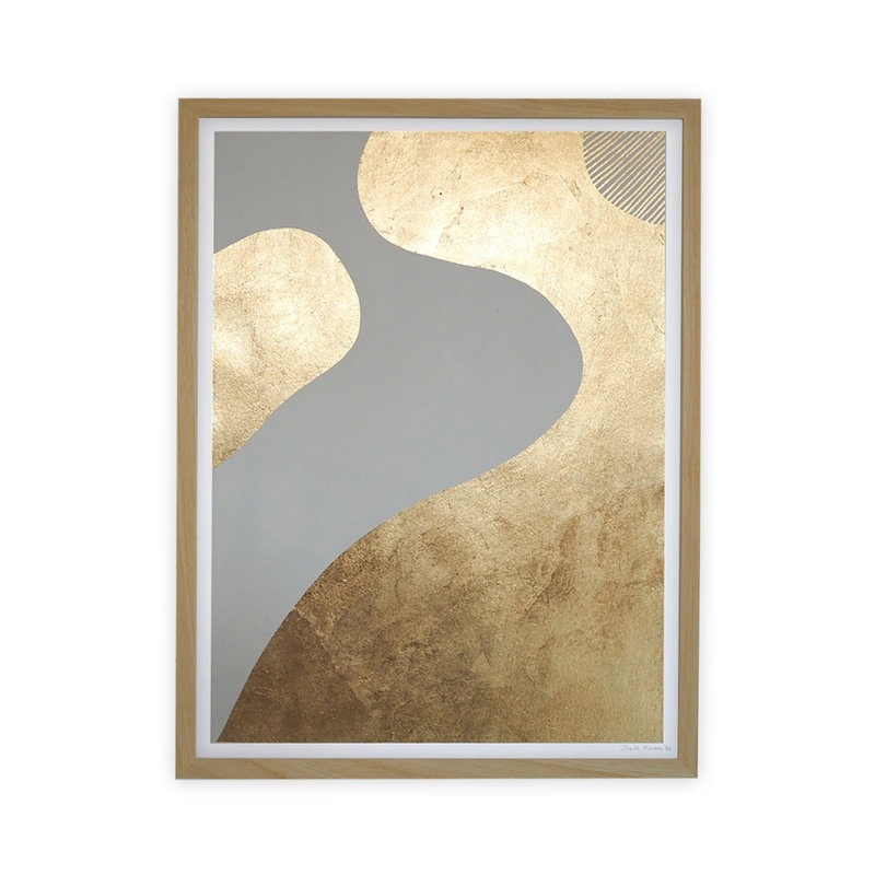 WHY-collectie Feeling golden II with wooden frame 50x65 cm