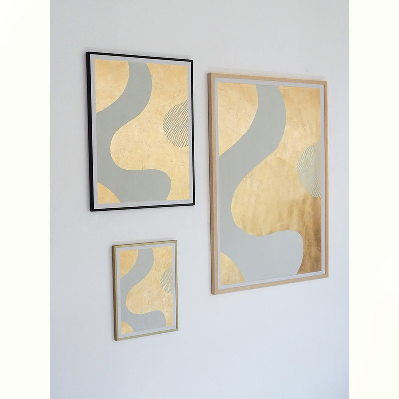 WHY-collectie Feeling golden I with wooden frame 50x65 cm