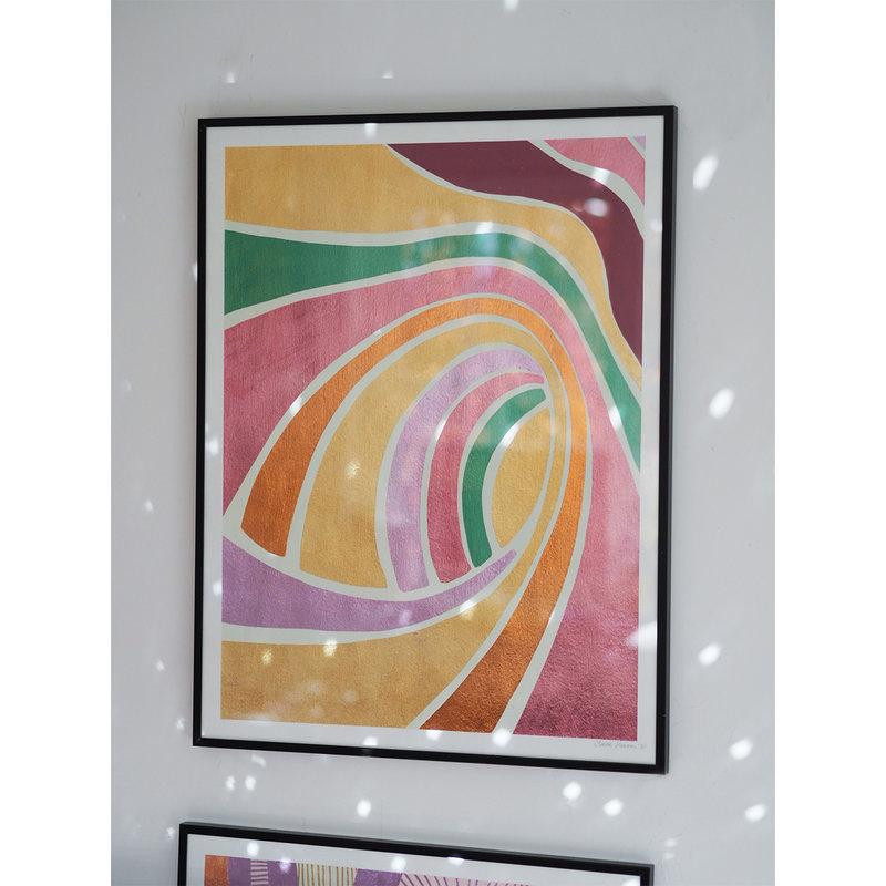 WHY-collectie Trip across galaxies with gold frame 70x100 cm