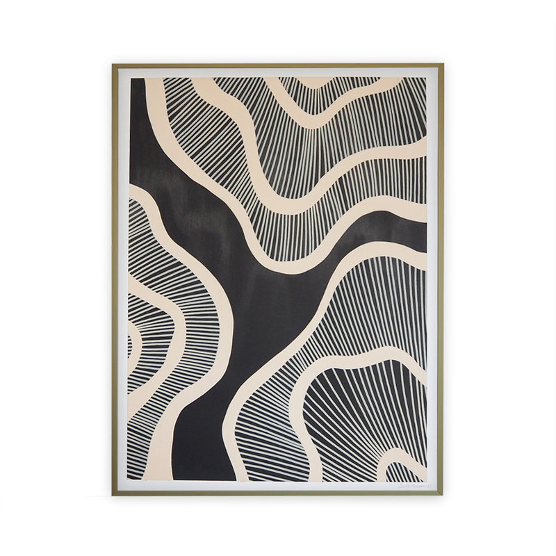 WHY-collectie Hyperspace black with gold frame 50x65 cm