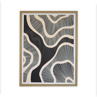 WHY Hyperspace black with wooden frame 50x65 cm