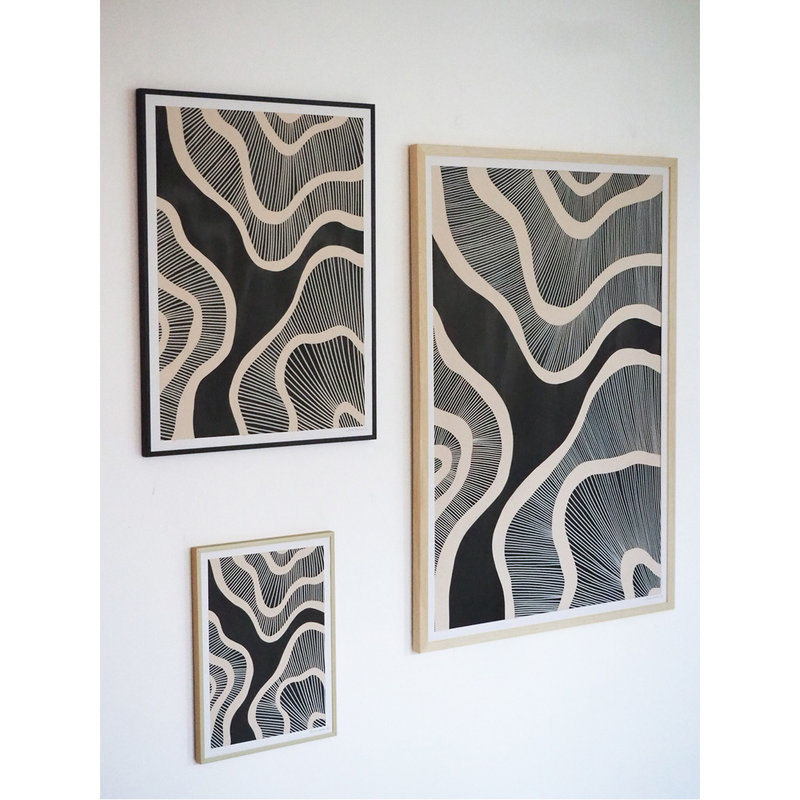 WHY-collectie Hyperspace black with wooden frame 50x65 cm