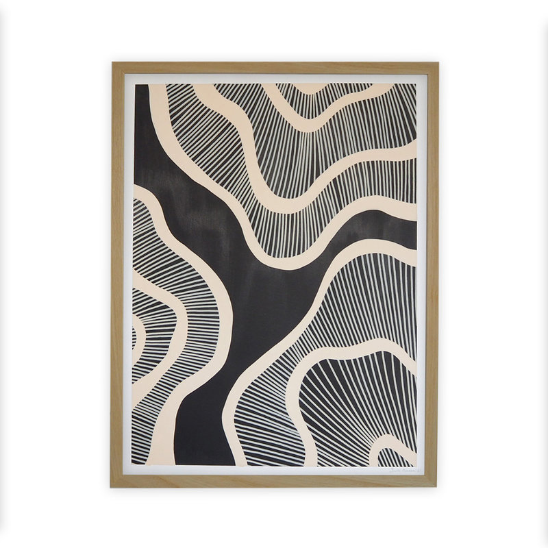WHY-collectie Hyperspace black with wooden frame 30x40 cm