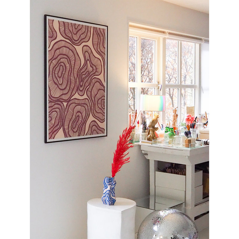 WHY-collectie Hyperspace wine with gold frame 50x65 cm