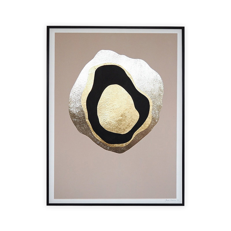 WHY-collectie Another Planet champagne gold with black frame 30x40 cm