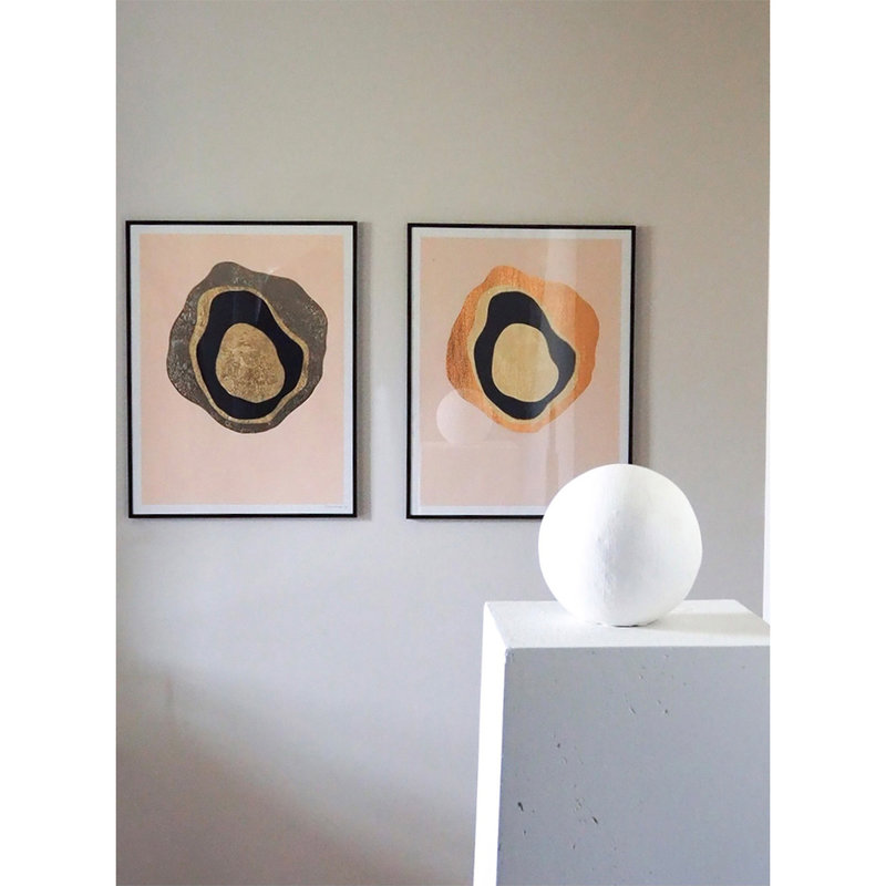 WHY-collectie Another Planet champagne gold with wooden frame 70x100 cm