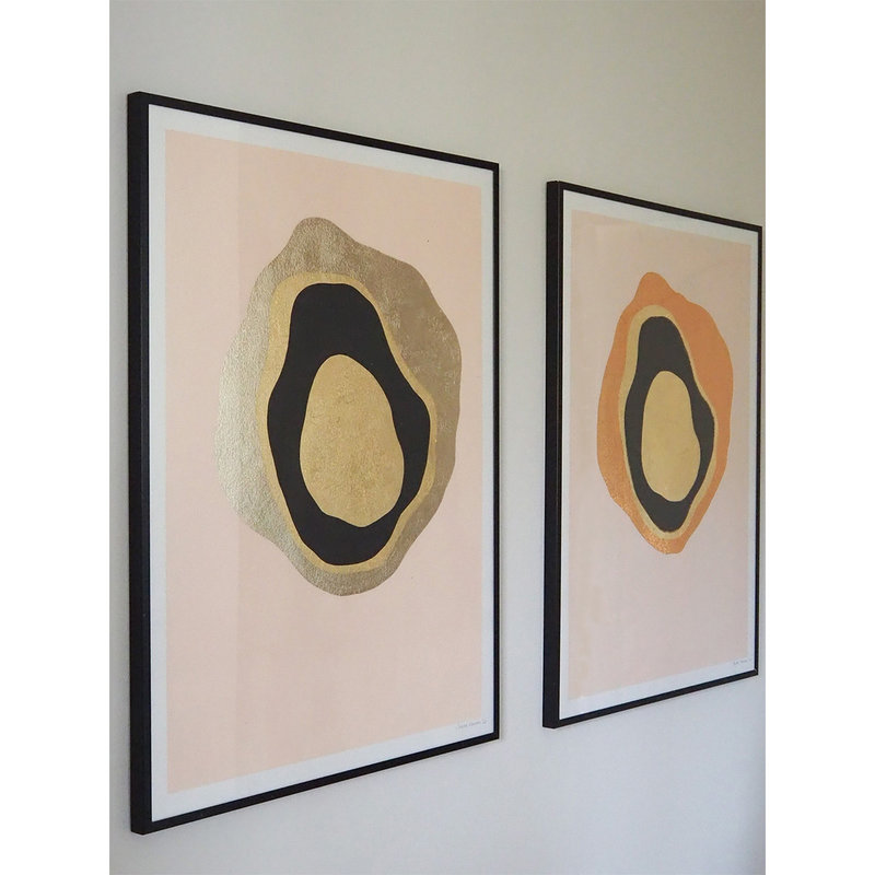 WHY-collectie Another Planet champagne gold with wooden frame 50x65 cm