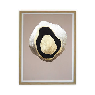 WHY Another Planet champagne gold with wooden frame 30x40 cm