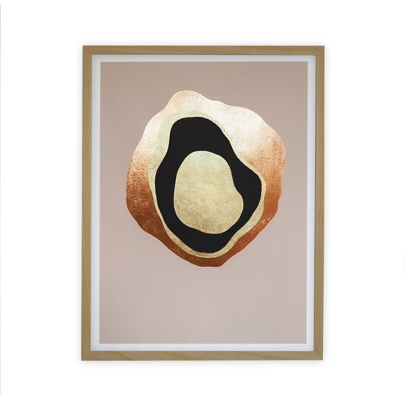 WHY-collectie Another Planet rose gold with wooden frame 30x40 cm