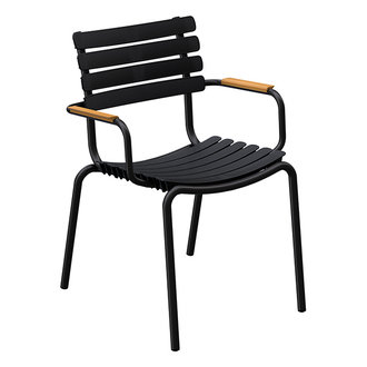 Houe ReCLIPS Dining Chair with black lamellas and bamboo armrests