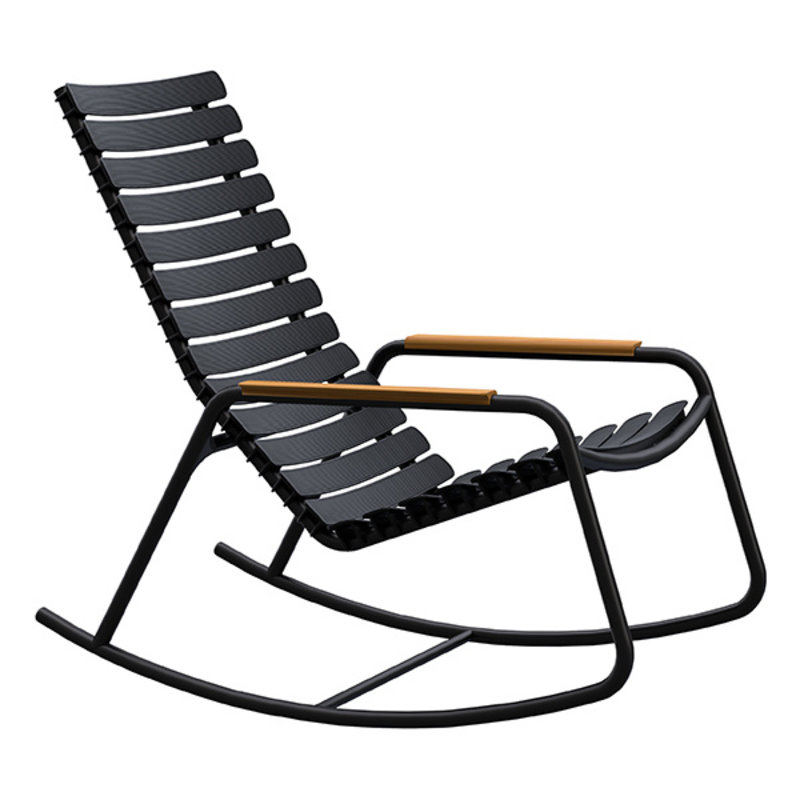 Houe-collectie ReCLIPS Rocking Chair with black lamellas and bamboo armrests