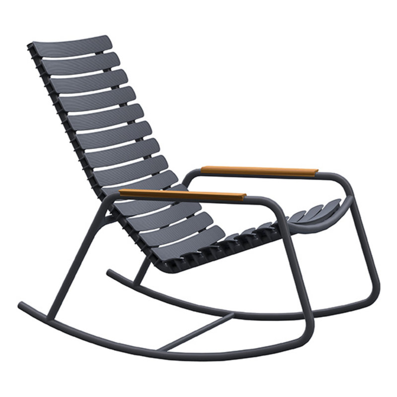 Houe-collectie ReCLIPS Rocking Chair with grey lamellas and bamboo armrests