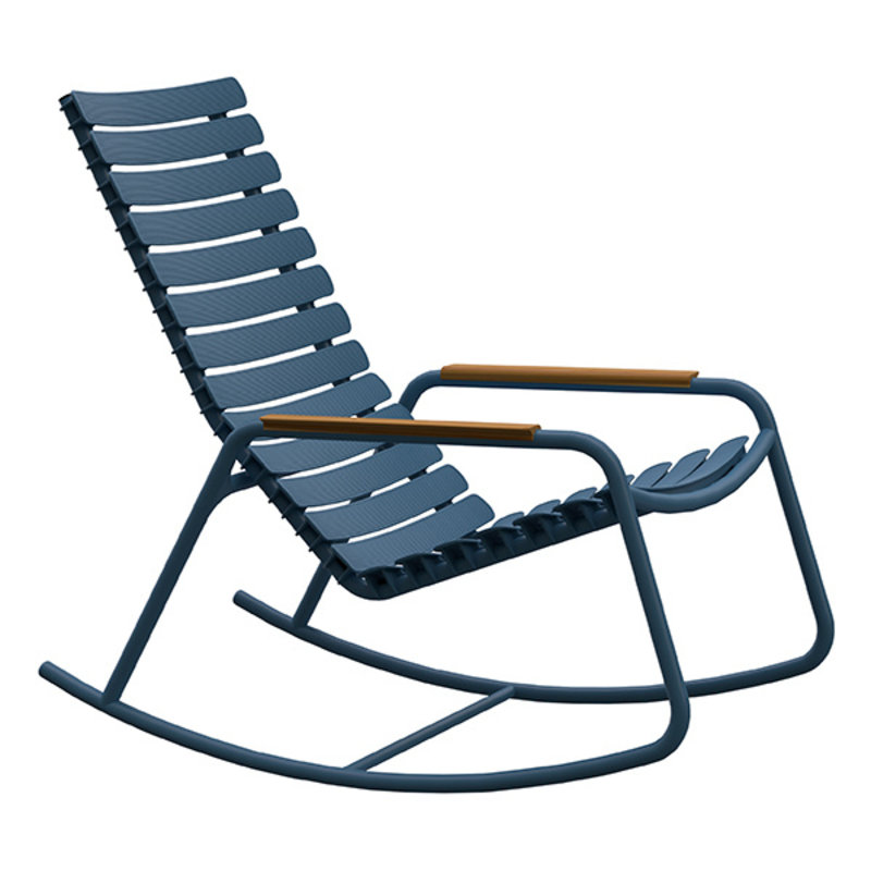 Houe-collectie ReCLIPS Rocking Chair with sky blue lamellas and bamboo armrests