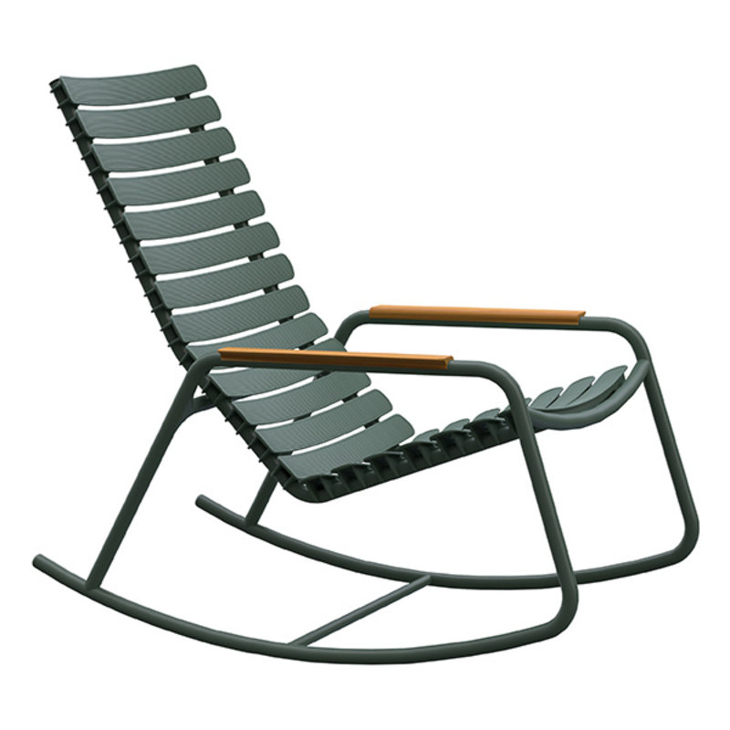 Houe-collectie ReCLIPS Rocking Chair with olive green lamellas and bamboo armrests