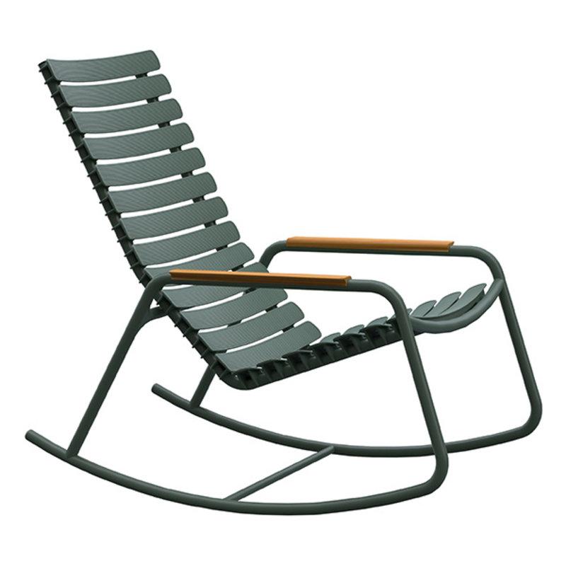 Houe-collectie ReCLIPS schommelstoel met bamboe armleuning olijfgroen