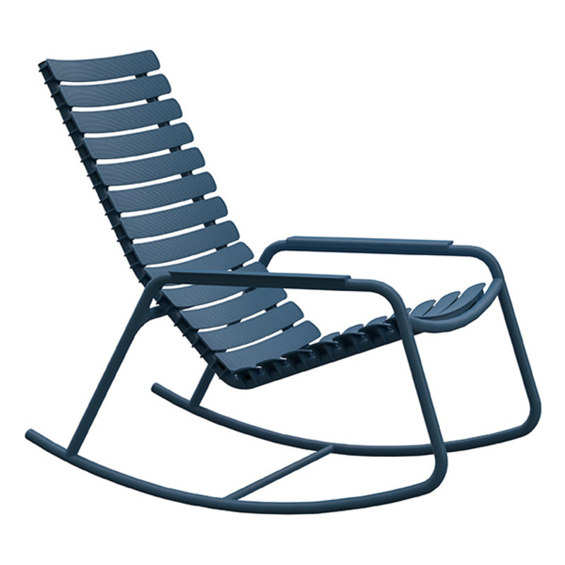 Houe-collectie ReCLIPS Rocking Chair with sky blue lamellas and armrests