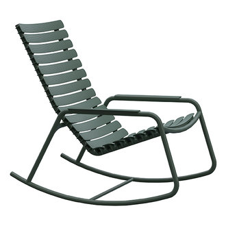 Houe ReCLIPS Rocking Chair with olive green lamellas and armrests