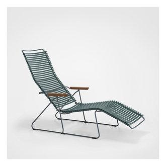 Houe CLICK sunlounger ligstoel met bamboe armleuning donkergroen