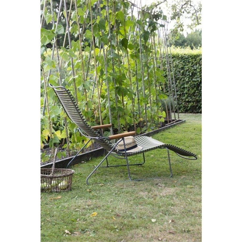 Houe-collectie CLICK sunlounger ligstoel met bamboe armleuning donkergroen