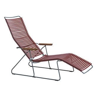 Houe CLICK sunlounger ligstoel met bamboe armleuning paprika