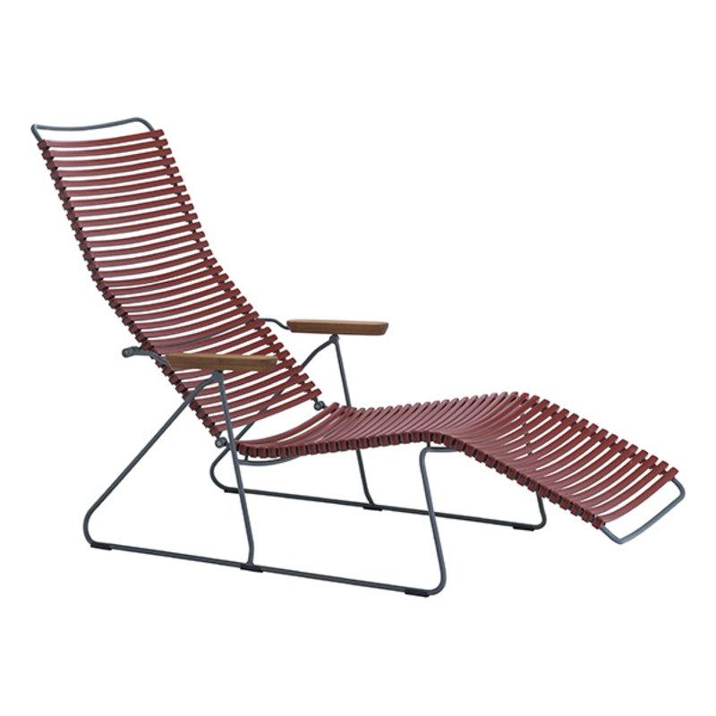 Houe-collectie CLICK sunlounger ligstoel met bamboe armleuning paprika