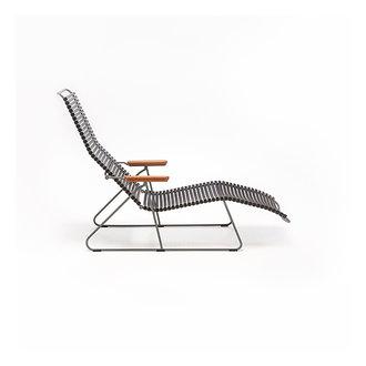 Houe CLICK sunlounger ligstoel met bamboe armleuning zwart