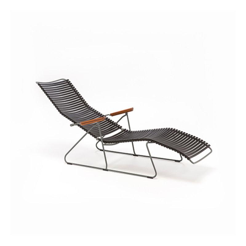 Houe-collectie CLICK sunlounger ligstoel met bamboe armleuning zwart