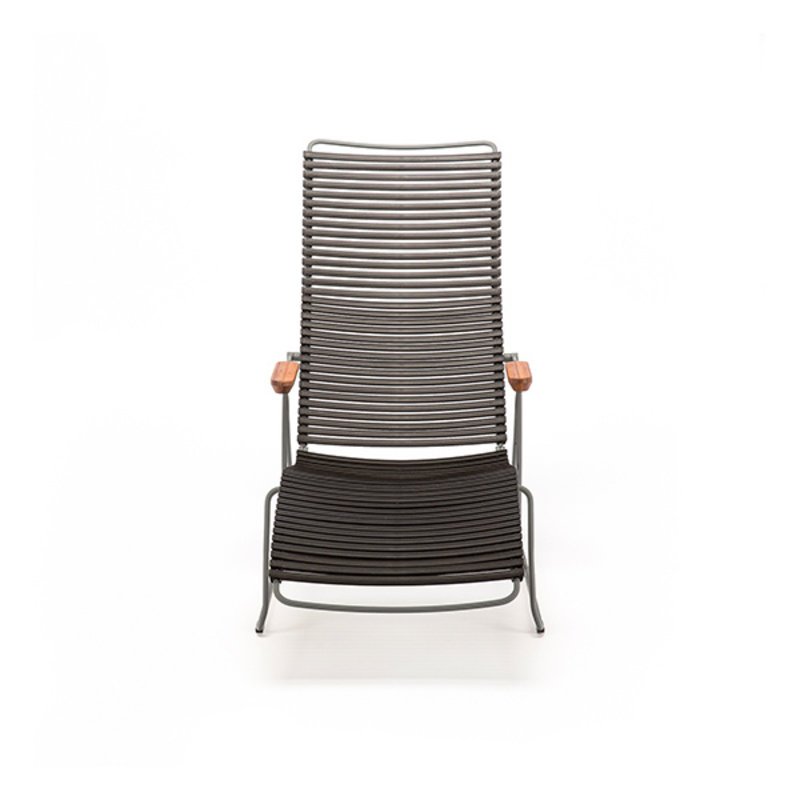 Houe-collectie CLICK sunlounger ligstoel met bamboe armleuning plum