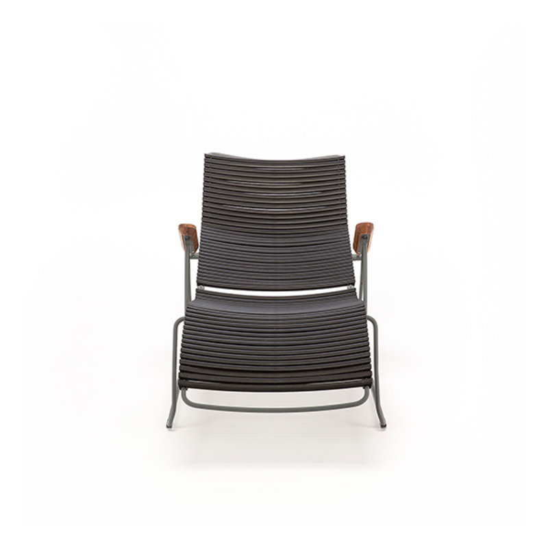 Houe-collectie CLICK sunlounger ligstoel met bamboe armleuning donkergrijs