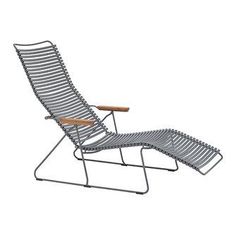 Houe CLICK sunlounger ligstoel met bamboe armleuning donkergrijs