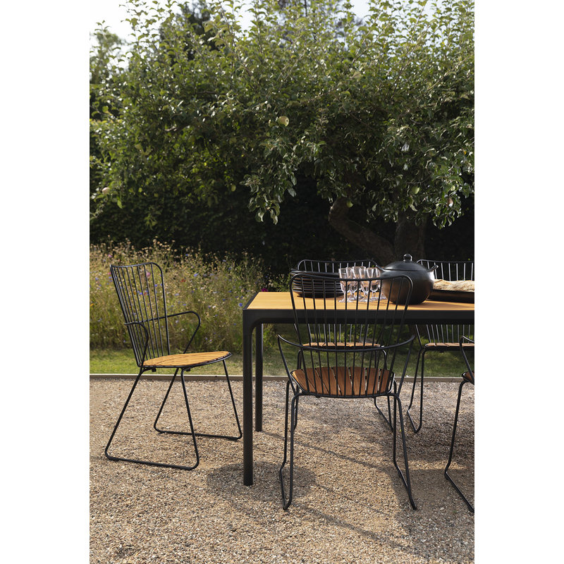 Houe-collectie FOUR tuintafel 270x90 cm zwart met bamboe blad