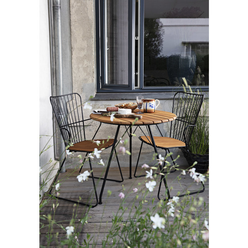 Houe-collectie CIRCUM tafel Ø74 zwart met bamboe blad