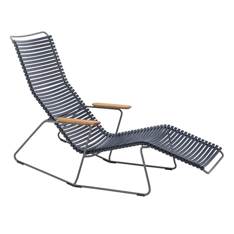 Houe-collectie CLICK sunrocker schommelstoel met bamboe armleuning donkerblauw