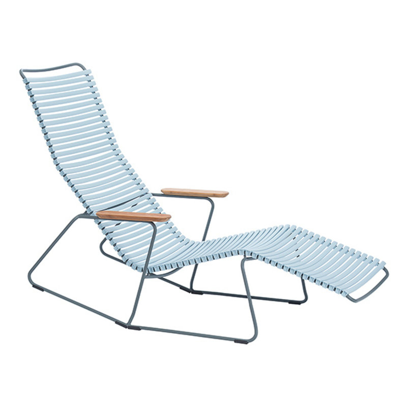 Houe-collectie CLICK Sunrocker with armrests in bamboo Dusty light blue
