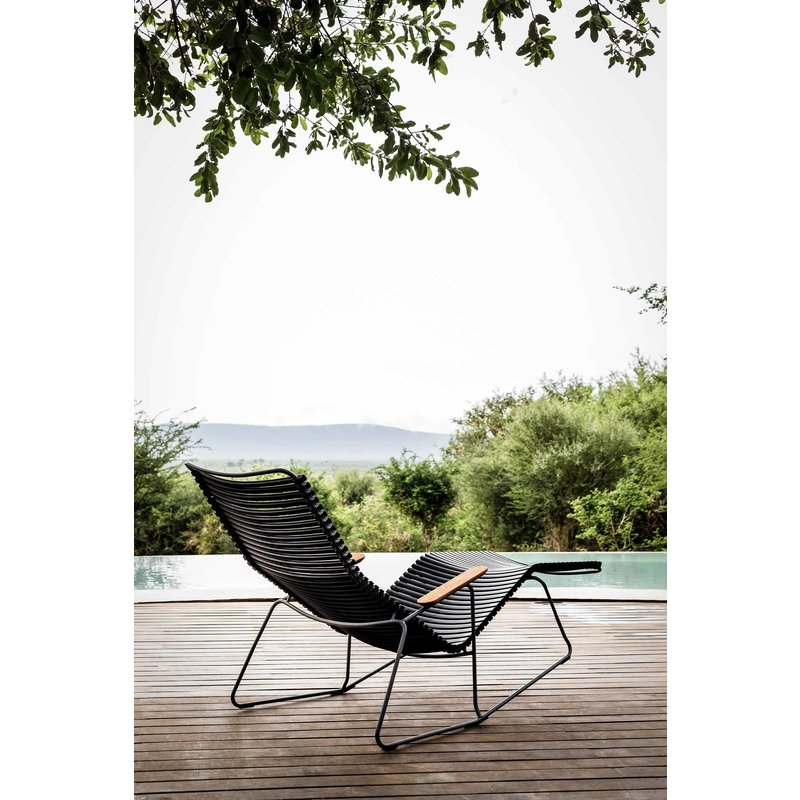 Houe-collectie CLICK Sunrocker with armrests in bamboo Pigeon blue