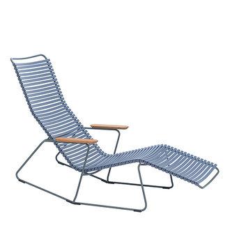 Houe CLICK sunrocker schommelstoel met bamboe armleuning blauw