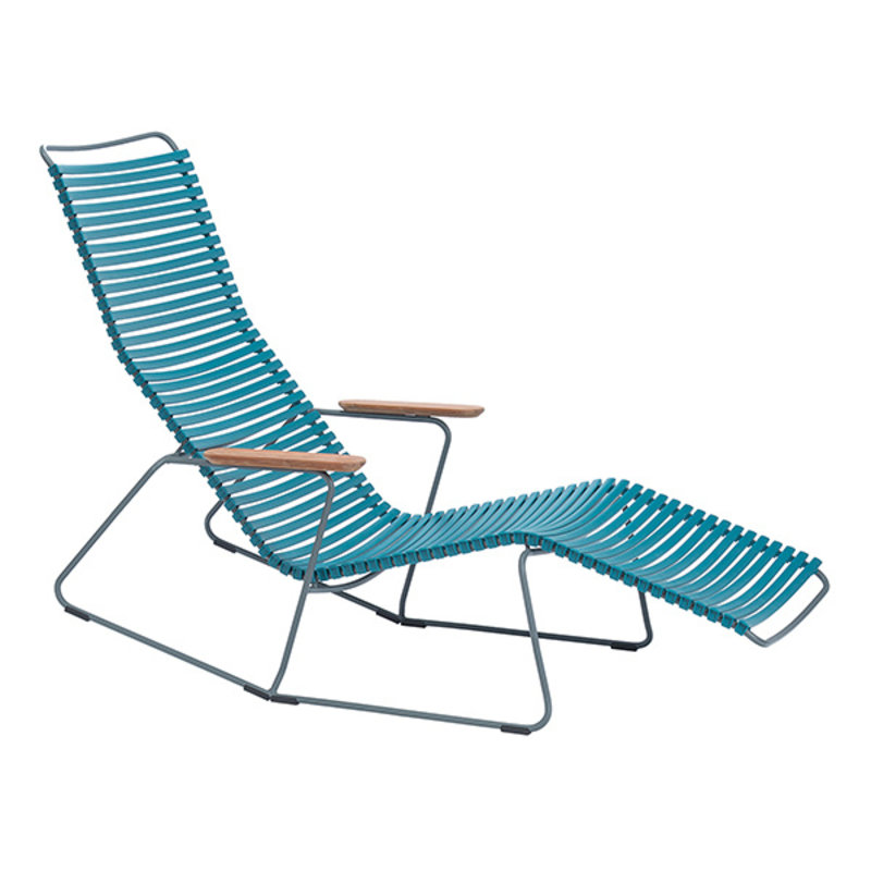 Houe-collectie CLICK Sunrocker with armrests in bamboo Petrol