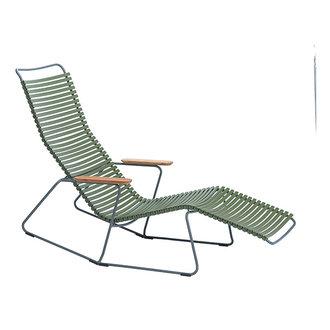 Houe CLICK sunrocker schommelstoel met bamboe armleuning olijfgroen