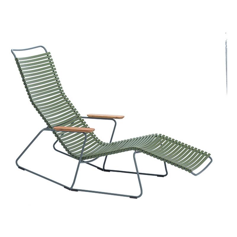Houe-collectie CLICK sunrocker schommelstoel met bamboe armleuning olijfgroen