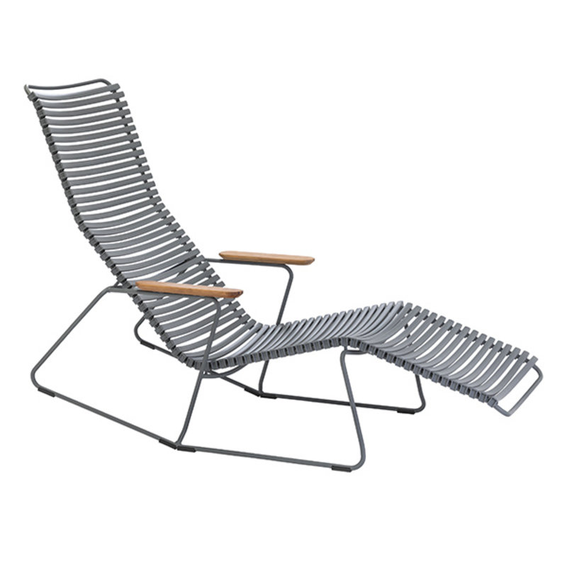 Houe-collectie CLICK sunrocker schommelstoel met bamboe armleuning donkergrijs