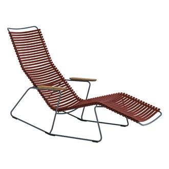 Houe CLICK sunrocker schommelstoel met bamboe armleuning paprika