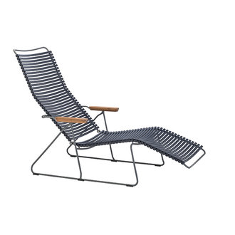 Houe CLICK sunlounger ligstoel met bamboe armleuning donkerblauw