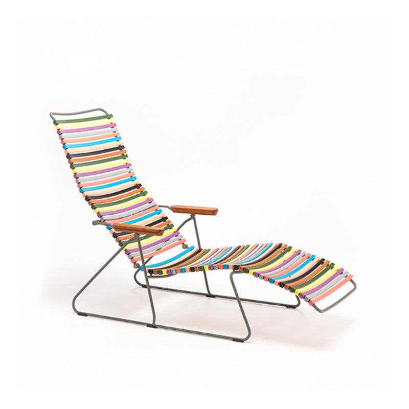 Houe-collectie CLICK sunlounger ligstoel met bamboe armleuning multi color 1