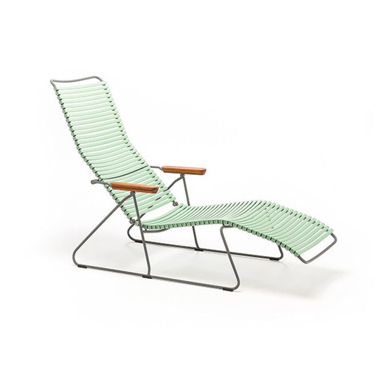 Houe-collectie CLICK sunlounger ligstoel met bamboe armleuning Dusty green